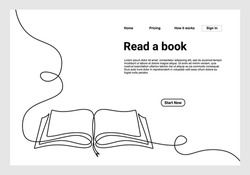 Continuous one line drawing open book with flying pages. illustration education supplies back to school theme for landing page website. Book one line drawing banner.