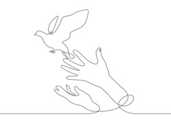 Continuous one line drawing releasing a bird from hand to flight. Concept of the symbol of freedom.