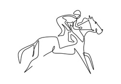 Continuous one line drawing rider on horseback. young horse rider man in jumping action. Equine training at racing track. Elegant sport. Equestrian sport show competition concept. Vector illustration