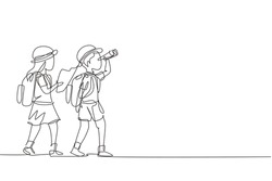 Continuous one line drawing scout boy and girl with binoculars and map. Children scout adventure camping concept. Hiking recreational tourism group. Single line draw design vector graphic illustration