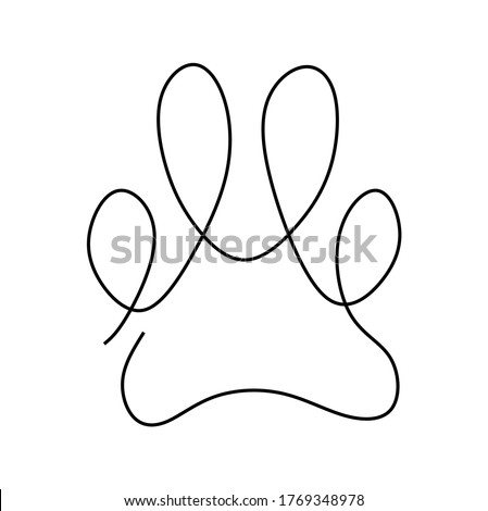 Continuous one line drawing vector illustration of a paw pad Photo stock ©
