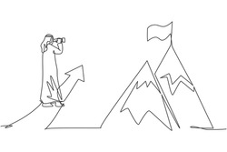 Continuous one line drawing young Arab businessman looking flag at top mountain as business goal target. Business vision minimalist concept. Trendy single line draw design vector graphic illustration