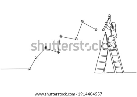 Continuous one line drawing young female Arabic worker climb ladder up to draw sales line graph growth report. Success manager minimalist concept. Single line draw design vector graphic illustration