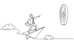 Continuous one line drawing young male worker focus flying with paper air plane into target dartboard. Success business manager. Minimalist concept. Single line draw design vector graphic illustration