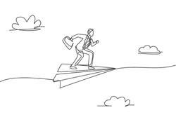Continuous one line drawing young male worker pose ready to sprint on flying paper airplane. Success business manager metaphor. Minimalist concept. Single line draw design vector graphic illustration