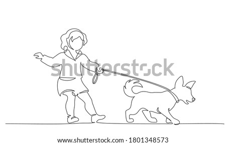 Continuous one line drawning. Little cute girl with dog on leash, walking. Vector illustration black on white Foto stock ©