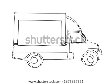 continuous one line Illustration of Fast delivery truck, lorry minimalistic sketch. Foto stock ©