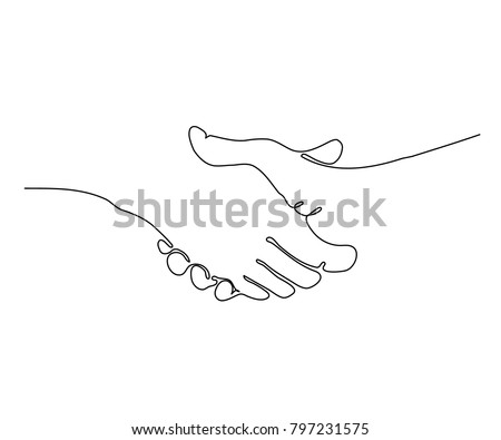 continuous one line vector illustration of a handshake
