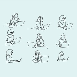 Continuous one single line drawing of woman relaxing at home using laptop computer for video call, skype. Happy young cute girl who wave hand smiling looks at pc screen. Vector illustration