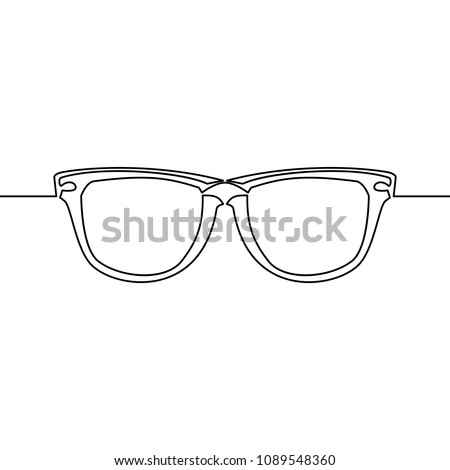 Continuous single drawn one line drawing of isolated vector object eye glasses