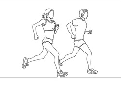 continuous single drawn one line man and woman on a run. character woman and man running around
