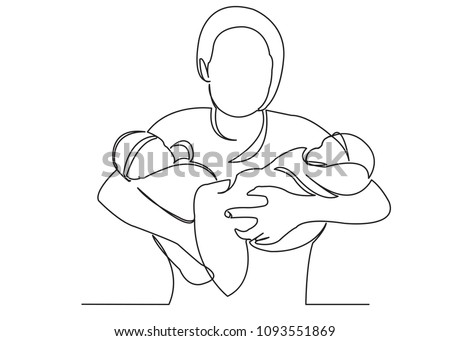two cute twin babies illustration download free vector art stock The Twins Happily Ever After continuous single drawn one line mom with twins on hands painted by hand silhouette picture