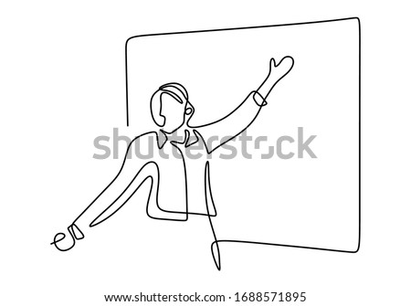 Continuous single drawn one line of person presentation standing to teaching, coaching, and presenting. People writing on the board to explain something. Flat line vector illustration Stock foto ©