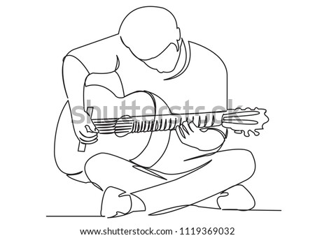 continuous single drawn one line street musician plays a guitar hand-drawn picture of the silhouette. Line art. playing guitar Сток-фото ©
