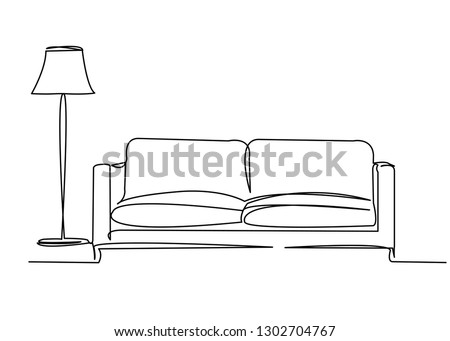 continuous single drawn single line sofa with floor lamp lampshade hand-drawn picture silhouette. Line art. doodle