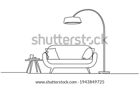 Continuous single drawn single line sofa with floor lamp lampshade hand-drawn picture silhouette. Line art. doodle. Continuous one line drawing the interior of the living room in the house.