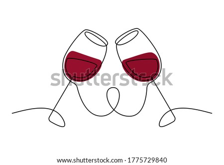 Continuous single line drawing of two glasses of red wine. Minimalist line art of cheering glasses of wine with red spots for logo. Vector illustration Foto stock ©