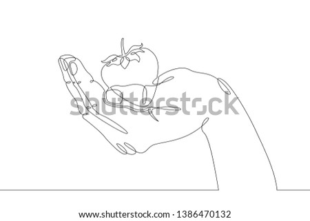 Stock Photo Continuous single one line hand drawing hand, hands, palm, brush, fist,isolated, food, strawberry, organic, red, fruit, sweet, berry, ripe, fresh