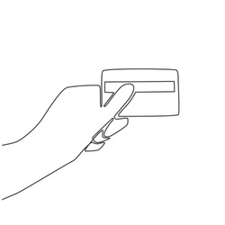 Continuous thin line credit card in hand vector illustration, minimalist bank card sketch doodle. One line art bankcard icon, single outline drawing or simple debit card logo