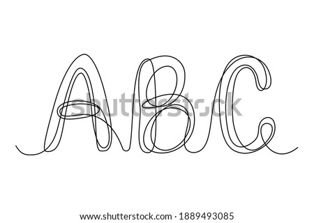 Continuous thin line letters A B C. vector illustration alphabet symbol with one line, minimalistic simple capital letters, logo Foto stock ©