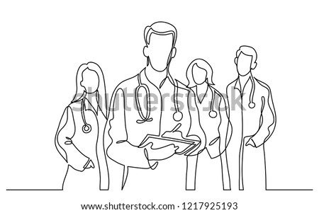 continuous vector line drawing of team of doctors