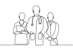 continuous vector line drawing of team of doctors. Minimalism design of medical people group. Vector illustration isolated on white background.