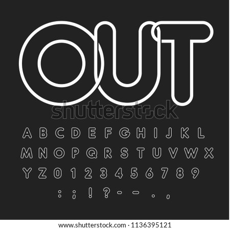 Contour alphabet, white letters on black background, outline style, modern typeface design, vector font template, uppercase letters, neon tube, monogram and logo template.