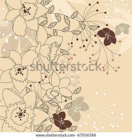 Contour background with daffodils anf forest plants