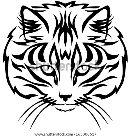 Contour black and white image muzzle tabby cat - stock vector