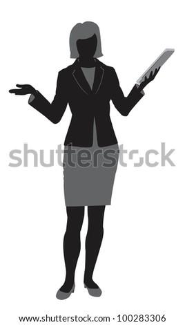 contour businesswoman - vector illustration