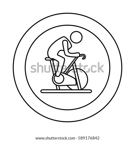 contour circular border with silhouette man in spinning bike