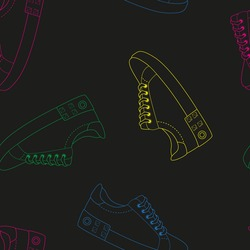 Contour colorful sport shoes, fashionable creative sneackers with studs and buckles. seamless pattern vector illustration.