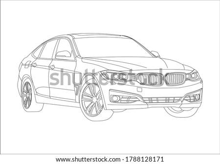 Contour drawing of a five-door liftback. BMW 3-series Gran Turismo. Foto stock ©