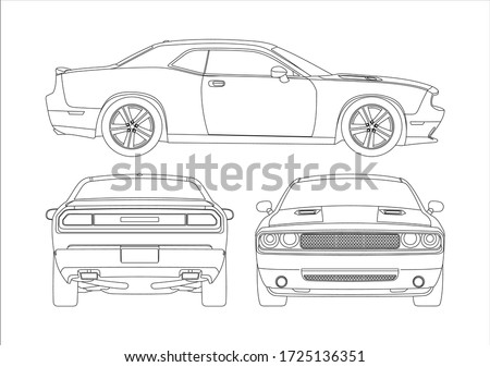 contour drawing of a muscle car