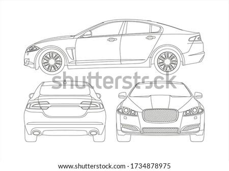 contour drawing of a sedan