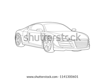 contour drawing of a sports car.Audi R8