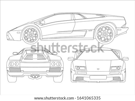 contour drawing of a sports coupe. Lamborghini Diablo. Foto stock ©