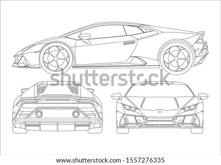 contour drawing of super car