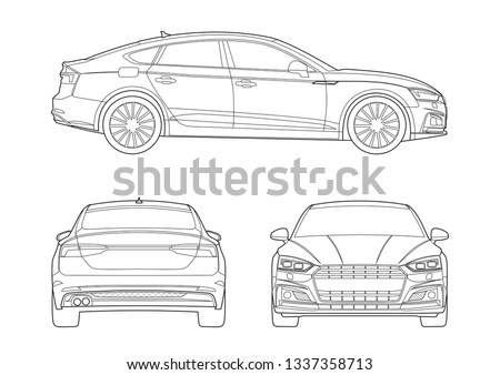 contour drawing of the car. Audi A5.