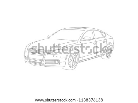 contour drawing of the car sedan