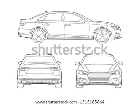 contour drawing sedan car audi