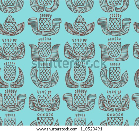 Contour ethnic pattern with different flowers, buds and leafs. Endless background with ornamental native elements. Hand drawn outline stylish texture for prints, covers, clothes, souvenirs