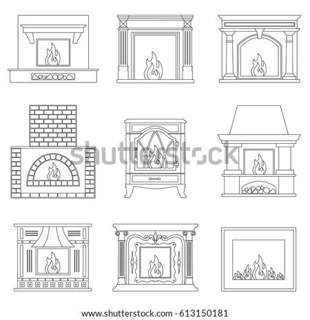 Contour fireplace. Icons of different fireplace in outline style. Vector illustration.