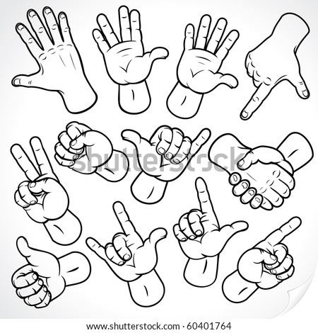 Contour hands vector collection-accuracy sketching of hand gestures-color version at my gallery