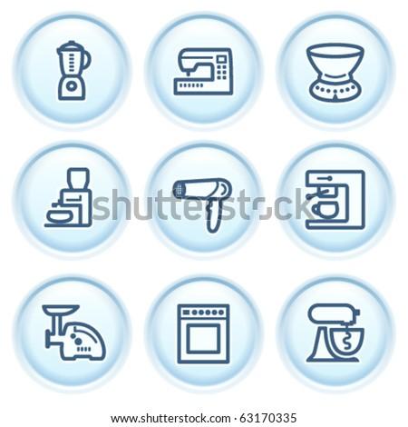 Contour icon on blue button 19 - stock vector