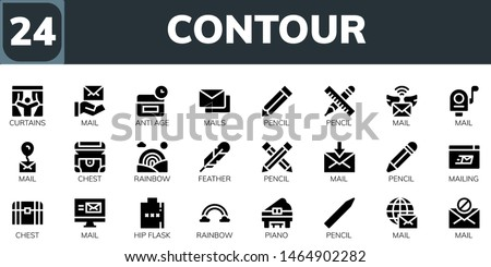 contour icon set. 24 filled contour icons.  Collection Of - Curtains, Mail, Anti age, Mails, Pencil, Chest, Rainbow, Feather, Mailing, Hip flask, Piano