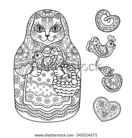 contour illustration  coloring