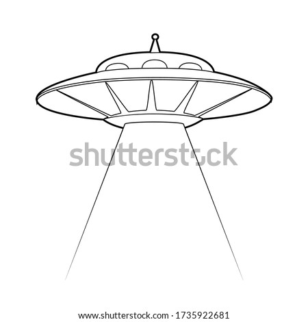 Contour illustration of a UFO with a stealing beam. Flying saucer. Unknown flying object. Vector outline object for logos, cards, banners and your creativity. Stock photo ©