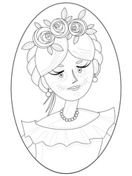 contour illustration with children's drawing for self-coloring with the image of a cute girl with traditional Mexican hair and makeup in the style of Calavera Katrina