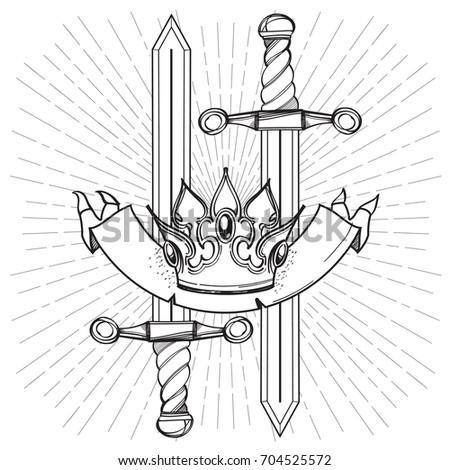 contour image of crown swords ...